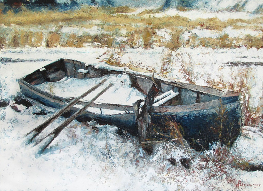 "Old Boat, 24"" x 33"", Oil on Board"