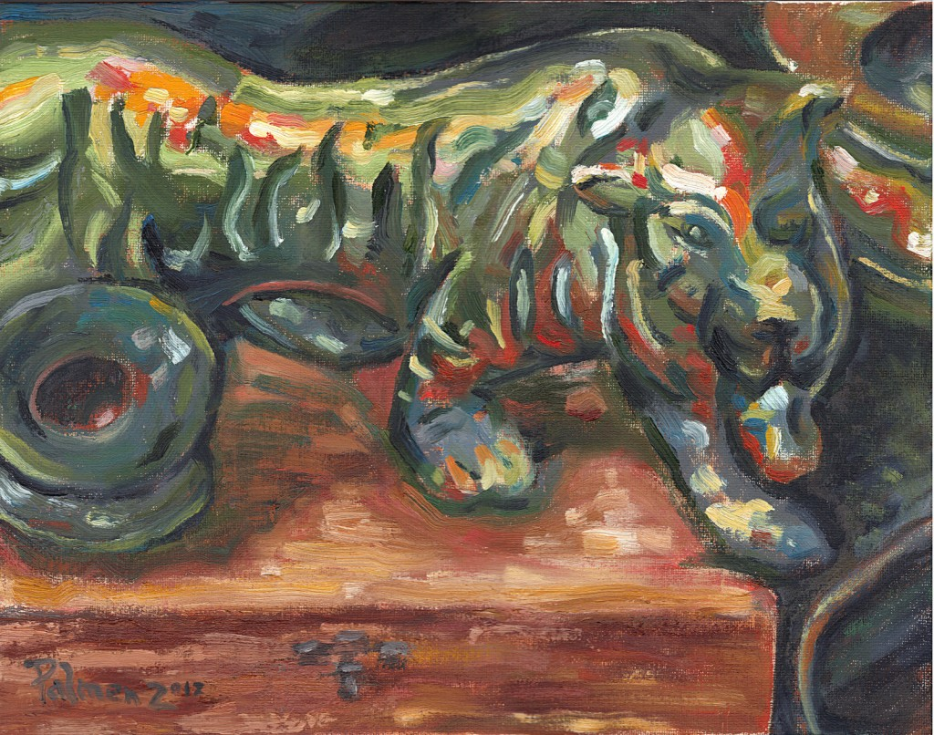 "Brass Tiger, 11"" x 14"" , Oil on Canvas Board"