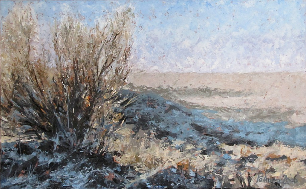 "Sagebrush, 15"" x 24"", Oil on board"