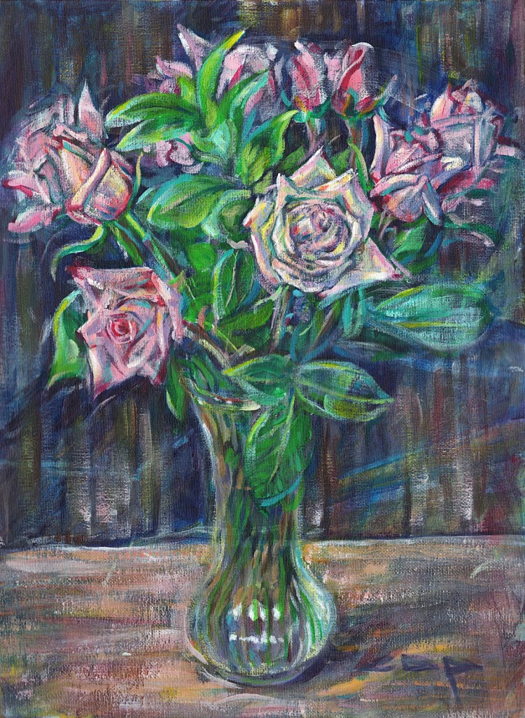 "Ten Pink Roses, 12"" x 16"", Acrylic on canvas panel"